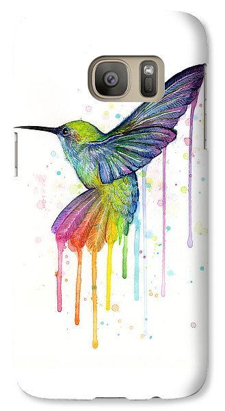 Galaxy S7 Case - Hummingbird Of Watercolor Rainbow by Olga Shvartsur