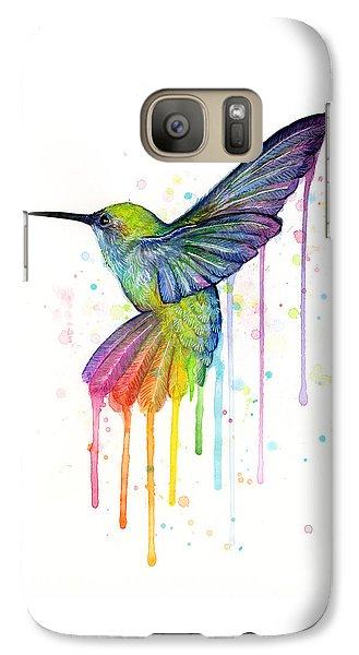 Hummingbird Of Watercolor Rainbow Galaxy S7 Case by Olga Shvartsur