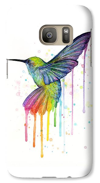 Hummingbird Of Watercolor Rainbow Galaxy S7 Case by Olga Shvartsur