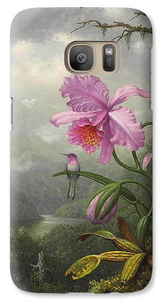 Orchid Galaxy S7 Case - Hummingbird Perched On The Orchid Plant by Martin Johnson Heade