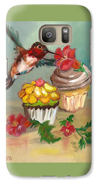 Galaxy Case featuring the painting hummingbird with 2 Cupcakes by Susan Thomas