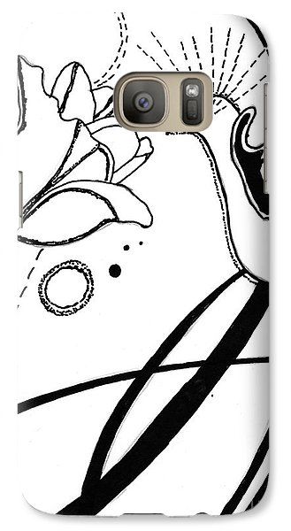 Galaxy Case featuring the drawing Hummingbird With Flower by Christine Perry