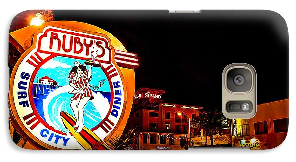 Galaxy Case featuring the photograph Huntington Beach Downtown Nightside 2 by Jim Carrell