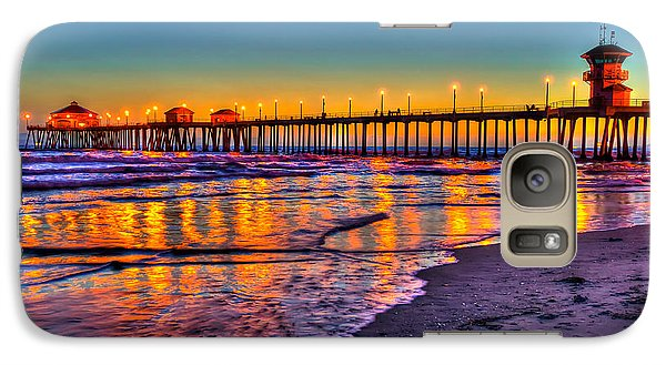 Galaxy Case featuring the photograph Huntington Beach Pier Sundown by Jim Carrell