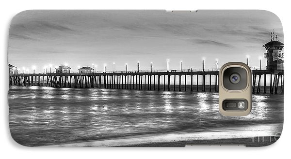 Galaxy Case featuring the photograph Huntington Beach Pier Twilight - Black And White by Jim Carrell
