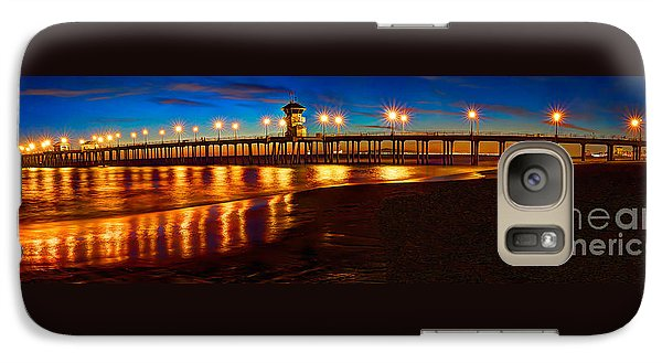 Galaxy Case featuring the photograph Huntington Beach Pier Twilight Panoramic by Jim Carrell