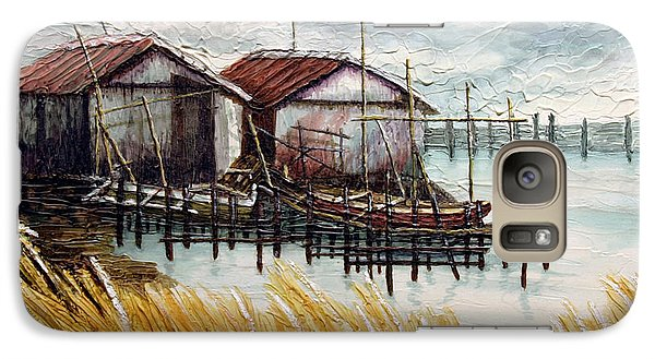 Galaxy Case featuring the painting Huts By The Shore by Joey Agbayani