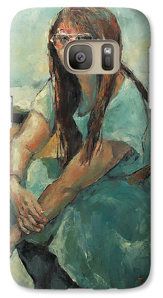 Galaxy Case featuring the painting Hwasun In Blue Dress by Becky Kim