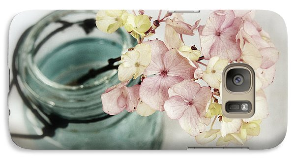 Galaxy Case featuring the photograph Hydrangea In Vintage Robin's Egg Jar by Brooke T Ryan