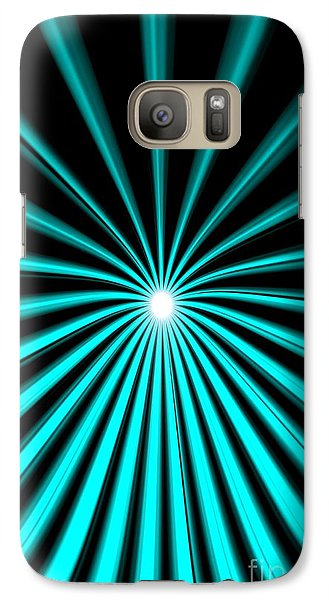 Galaxy Case featuring the painting Hyperspace Cyan Portrait by Pet Serrano