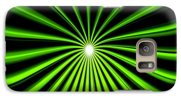 Galaxy Case featuring the painting Hyperspace Electric Green Square by Pet Serrano
