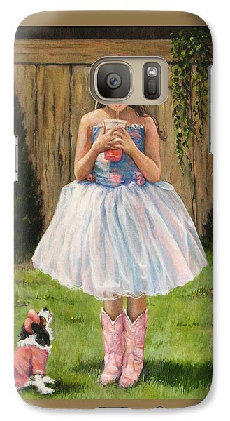 Galaxy Case featuring the painting I Dressed Myself by Donna Tucker