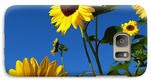 Galaxy Case featuring the photograph I Girasoli Dietro Casa Mia - Sunflowers In The Field Behind My House. by Mariana Costa Weldon