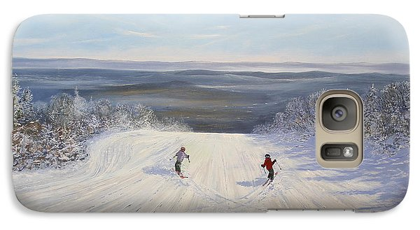 Galaxy Case featuring the painting I Heart Skiing by Ken Ahlering