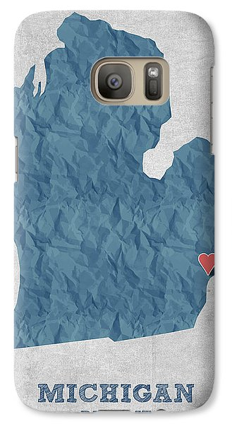 Michigan State Galaxy S7 Case - I Love Detroit Michigan - Blue by Aged Pixel