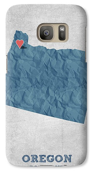 I Love Portland Oregon- Blue Galaxy S7 Case by Aged Pixel
