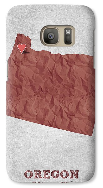 I Love Portland Oregon- Red Galaxy S7 Case by Aged Pixel