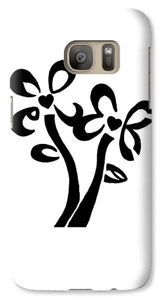Galaxy Case featuring the drawing I Love You Flowers by Tamir Barkan