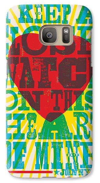I Walk The Line - Johnny Cash Lyric Poster Galaxy S7 Case