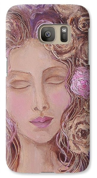 Galaxy Case featuring the painting I Want To Kiss Me by Nina Mitkova