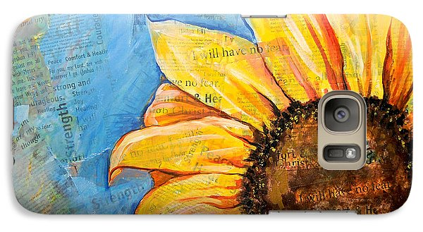 Galaxy Case featuring the painting I Will Have No Fear Sunflower by Lisa Fiedler Jaworski