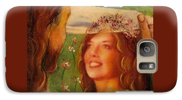 Galaxy Case featuring the painting I Will Lift The Veil by Hazel Holland