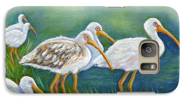 Galaxy Case featuring the painting Ibis Flock With Juvenile by Jeanne Kay Juhos