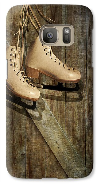 Galaxy Case featuring the photograph Ice Skates Hanging On Old Barn by Ethiriel  Photography
