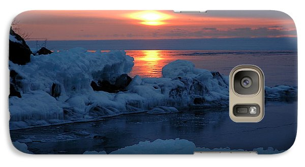 Galaxy Case featuring the photograph Icy Lake Superior Sunrise by Sandra Updyke