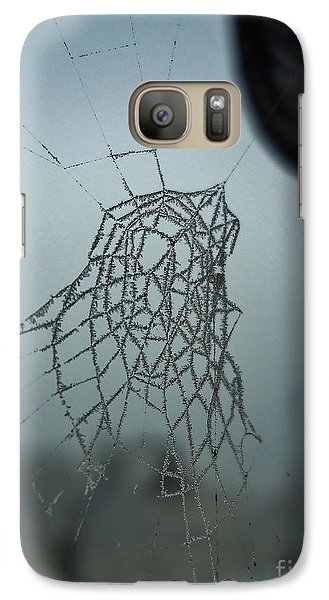Galaxy Case featuring the photograph Icy Spiderweb by Ramona Matei