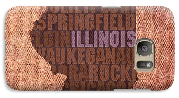 Illinois State Word Art On Canvas Galaxy Case by Design Turnpike