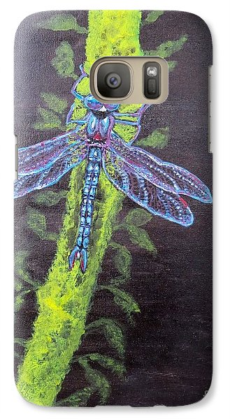 Galaxy Case featuring the painting Illumination Of A Blue Dragonfly's Form At Nightfall Painting by Kimberlee Baxter