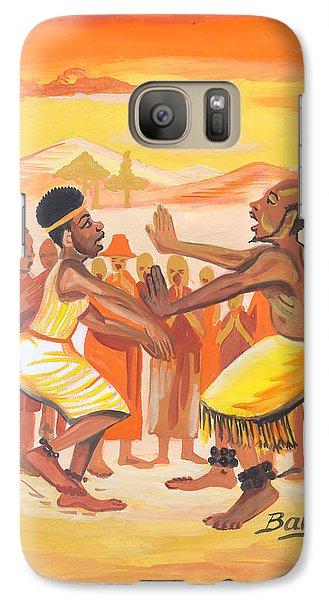 Galaxy Case featuring the painting Imbiyino Dance From Rwanda by Emmanuel Baliyanga