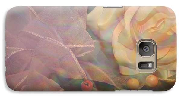 Galaxy Case featuring the photograph Impressionistic Pink Rose With Ribbon by Dora Sofia Caputo Photographic Art and Design
