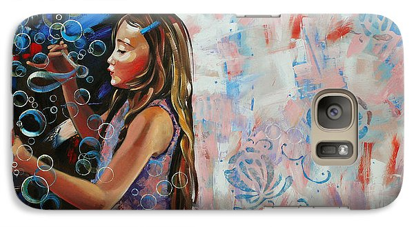 Galaxy Case featuring the painting In A Country Blue Dragonflies  by Anastasija Kraineva