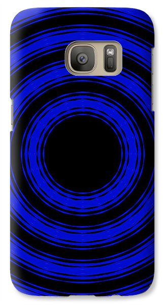 Galaxy Case featuring the painting In Circles- Blue Version by Roz Abellera Art