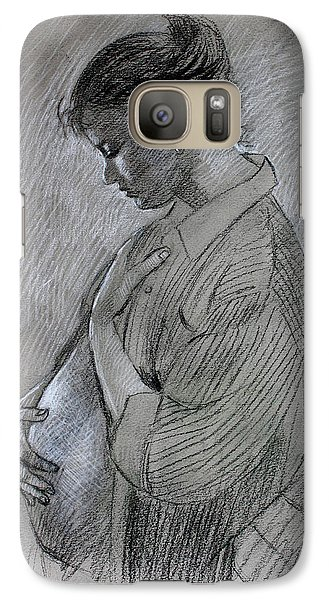 Galaxy Case featuring the drawing In The Family Way by Viola El