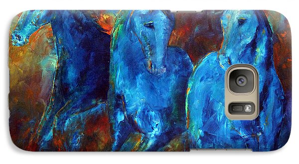 Galaxy Case featuring the painting Abstract Horse Painting Blue Equine by Jennifer Godshalk