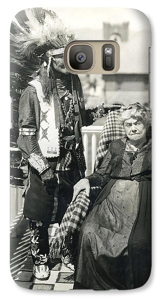 Galaxy Case featuring the photograph Indian Chief And Woman by Charles Beeler