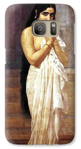 Galaxy Case featuring the digital art Indian Girl After Bath by Raja Ravi Varma
