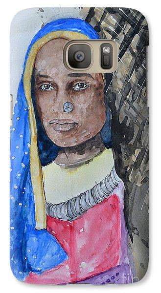 Galaxy Case featuring the painting Indian Girl by Ismeta Gruenwald