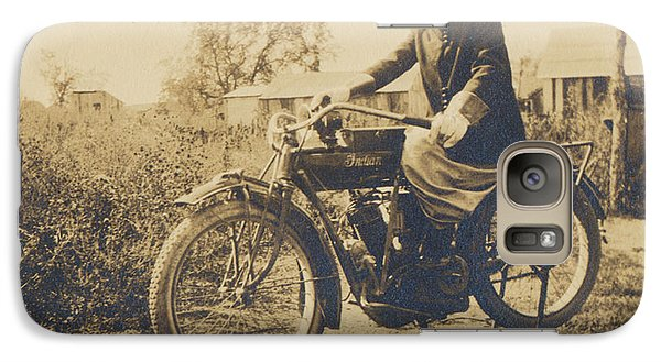 Galaxy Case featuring the photograph Indian Motorcycle Woman Rider by Paul Ashby Antique Images