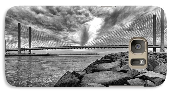 Indian River Bridge Clouds Black And White Galaxy S7 Case