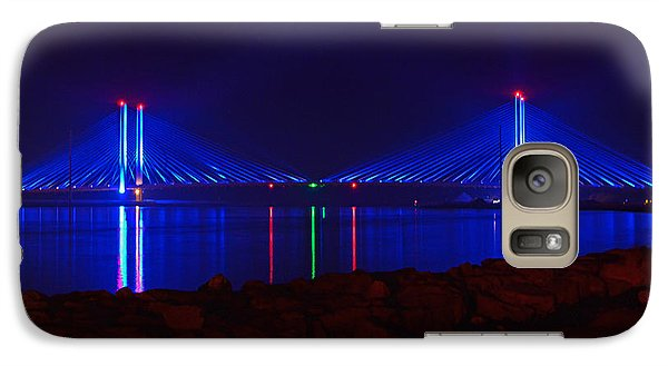 Galaxy Case featuring the photograph Indian River Inlet Bridge After Dark by Bill Swartwout
