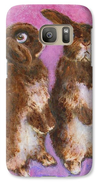 Galaxy Case featuring the painting Indignant Bunny And Friend by Richard James Digance