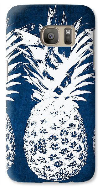 Galaxy S7 Case - Indigo And White Pineapples by Linda Woods