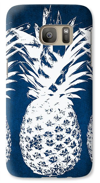 Indigo And White Pineapples Galaxy Case by Linda Woods