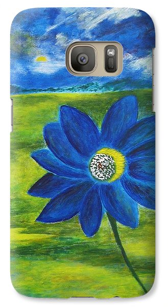 Galaxy Case featuring the painting Indigo Blue by John Scates