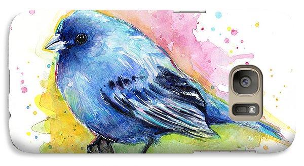 Indigo Bunting Blue Bird Watercolor Galaxy S7 Case