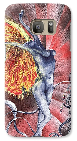 Galaxy Case featuring the mixed media Inferno by Kenneth Clarke